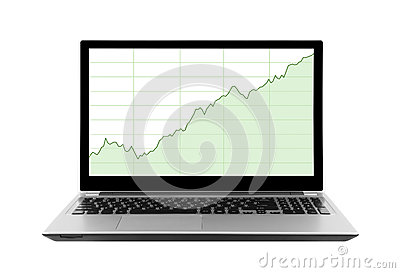 Laptop with stock charts