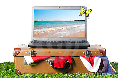 Laptop on suitcase