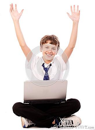 Laptop teen  happy