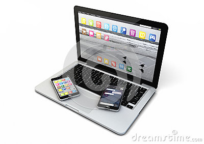 Laptop and two smartphones