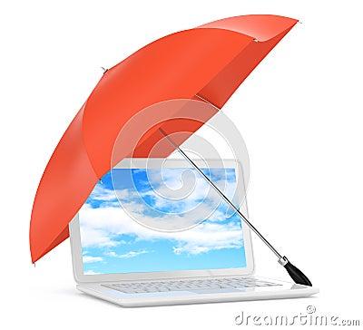 Laptop Under Umbrella Royalty Free Stock Photos Image