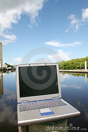 Laptop on the water