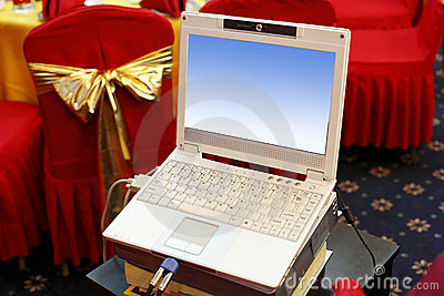 Laptop at the wedding scene.