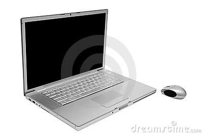 Laptop with the wireless mouse