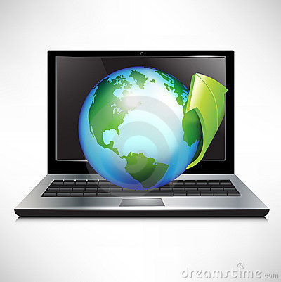 Free Laptop With Earth Globe And Green Arrow Royalty Free Stock Photography - 22505507