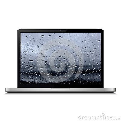 Free Laptop With Rain Drops Royalty Free Stock Photos - 91063298