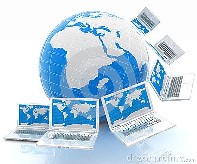 Laptops around the planet earth
