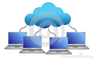 Laptops connected to cloud