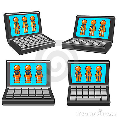 Laptops with orange men