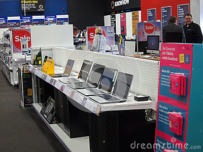 Laptops for sale in a store. Editorial Image