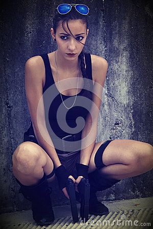 Free Lara Croft Cosplay Stock Image - 25866711
