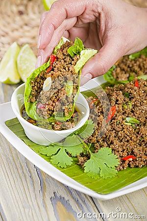 Free Larb - Lao Minced Beef Salad Stock Photo - 31971890
