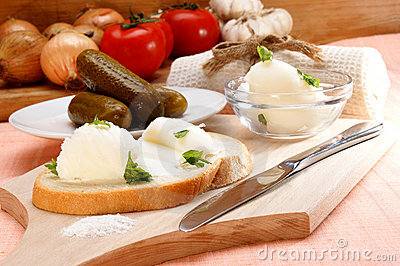 Lard with parsley on home baked bread