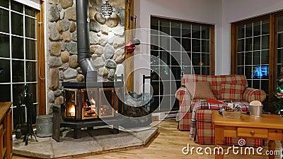 Lareira de fogão de madeira com corpo metálico e porta de vidro em casa com interior confortável filme