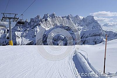 Laresei ski-run at falcade, dolomites