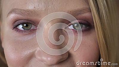 Largamente os olhos abertos da menina loura bonito nova estão olhando na câmera, fundo do tijolo vídeos de arquivo