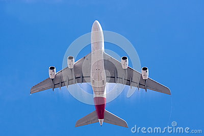 Large A380 airliner and blue sky