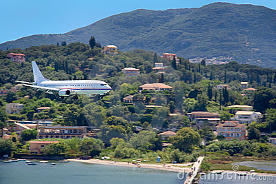 Large aircraft landing on Corfu island, Greece