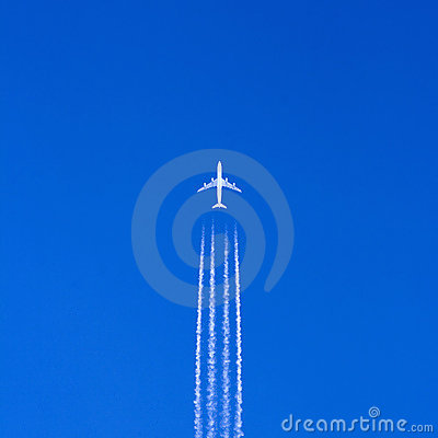 Large airplane in blue sky