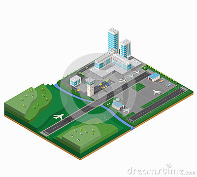 A large airport Vector Illustration