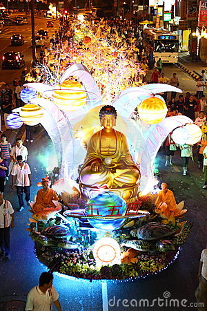 A large beautiful floats at Wesak Day Procession Editorial Image