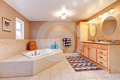 Large beige and white bathroom