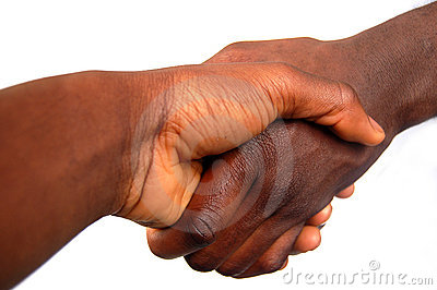 Large Black Handshake