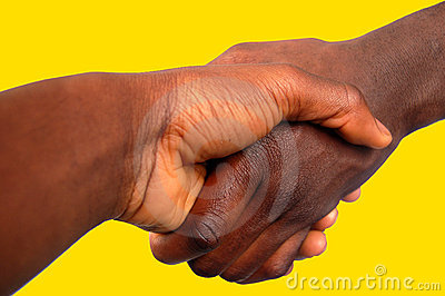 Large Black Handshake (Gold Background)