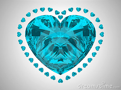 Large blue heart cut diamond