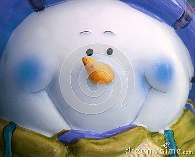 Large Blue Snowman Face