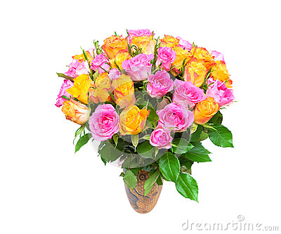 A large bouquet of roses isolated on white background.