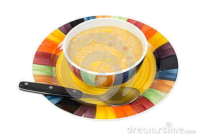 Large bowl of corn chowder