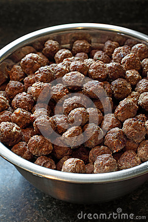 Large bowl of meatballs