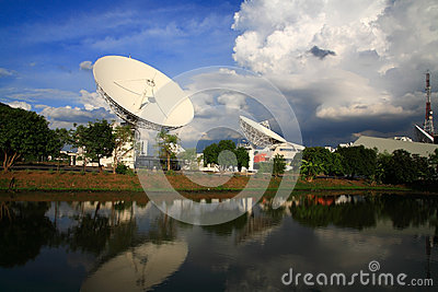 Large broadcast radars or satellite dishes