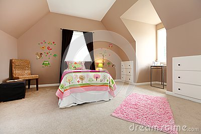 Large brown baby girl bedroom with pink.