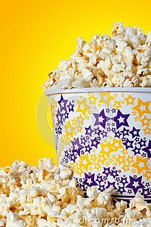 Large bucket of popcorn