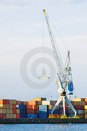 Large Cargo Crane and Containers at Seaport