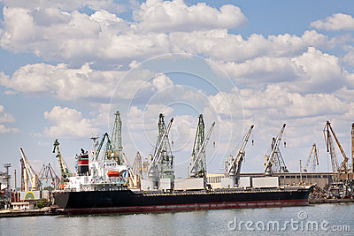 Large cargo ship in a dock at port
