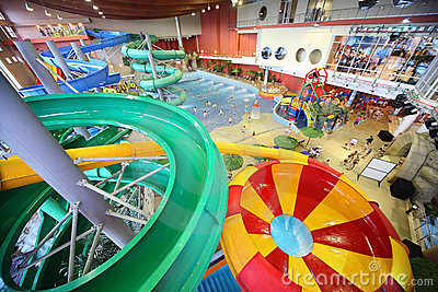 Large chutes as spiral and pool Editorial Stock Photo