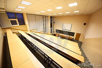 Large classroom, university lecture hall