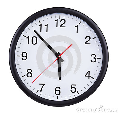 Large clock shows five to six
