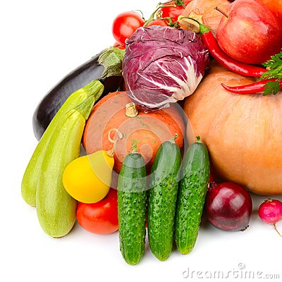 Free Large Collection Of Useful Vegetables And Fruits Isolated On Whi Stock Images - 103534744
