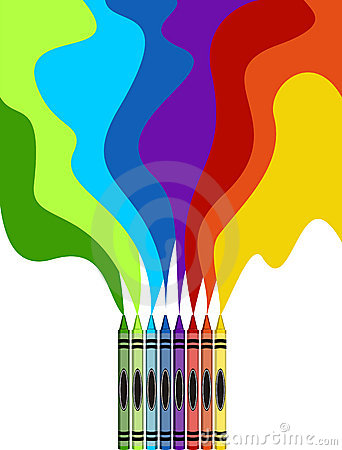 Large colored crayons drawing a rainbow art