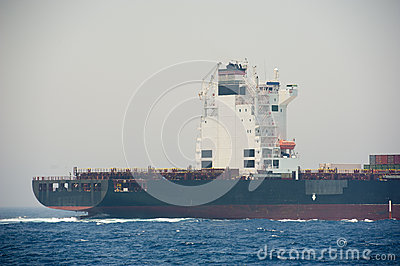 Large conatainer ship at sea