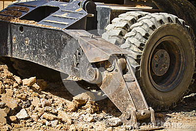 Large Construction Excavation, wheels detail