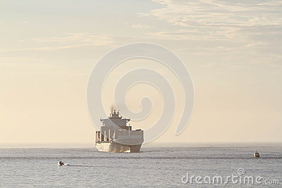 Large container cargo ship in distance