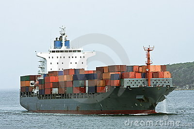 Large container cargo ship at sea.