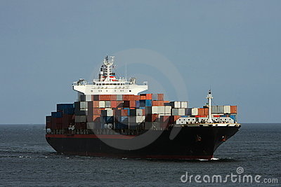 Large container ship at sea.