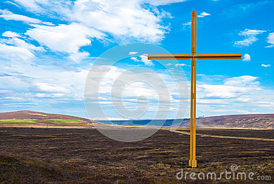 Large cross in rural location, Iceland