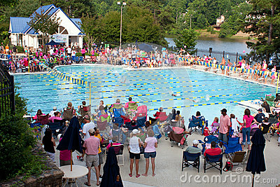 Large Crowd Of Parents Watches Swim Meet Editorial Image